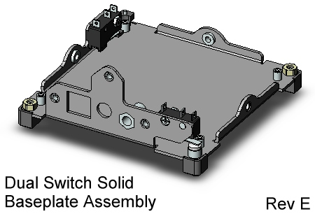 CubeSat Kit Base Plate Assy with dual switches, skeletonized